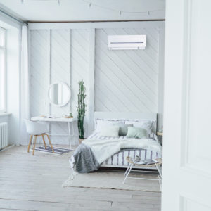 Scandinavian modern cozy eco interior, white table and mirror in bed room, minimalism